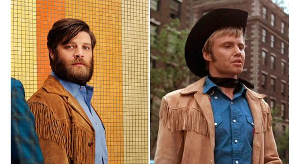 Jay R. Ferguson as Stan Rizzo in Mad Men, and John Voight as Joe Buck in Midnight Cowboy.
