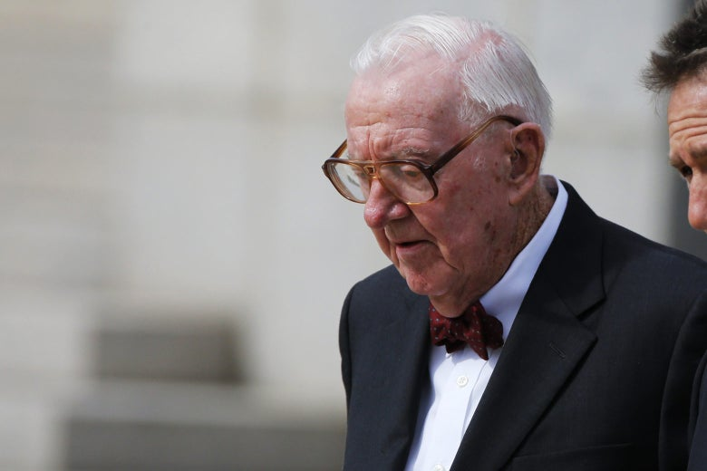 Retired U.S. Supreme Court Justice John Paul Stevens departs the funeral of U.S. Supreme Court Associate Justice Antonin Scalia in Washington on Feb. 20, 2016.