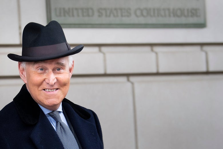 Roger Stone leaves Federal Court after a sentencing hearing February 20, 2020, in Washington, D.C.