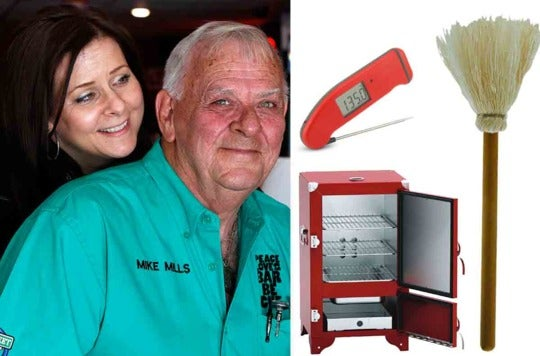 Amy and Mike Mills and the Thermapen, mop, and smoker.