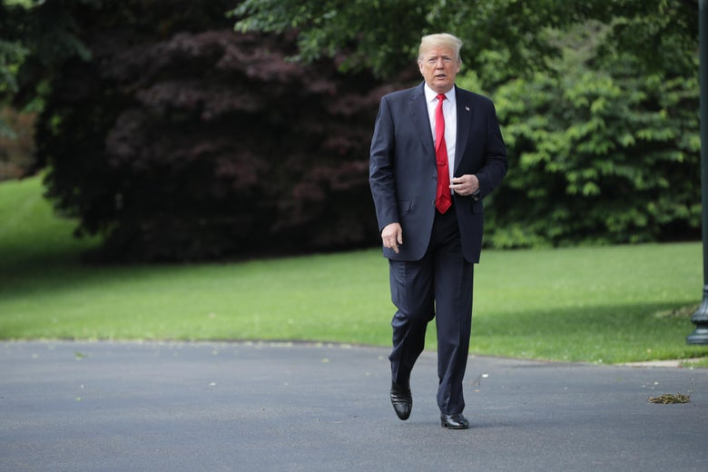 WASHINGTON, DC - MAY 23: U.S. President Donald Trump walks across the South Lawn while departing the White House May 23, 2018 in Washington, DC. Trump is traveling to New York where he will tour the Morrelly Homeland Security Center and then attend a roundtable discussion and dinner with supporters before returning to Washington. (Photo by Chip Somodevilla/Getty Images)