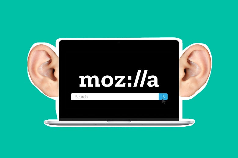 A laptop that says Moz://a and features a search box, with a set of ears on it.