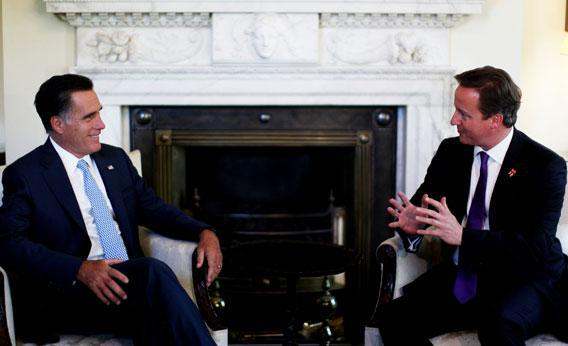 Britain's Prime Minister David Cameron (R) meets with United States Republican Presidential Nominee Mitt Romney at 10 Downing Street in London, on July 26, 2012.