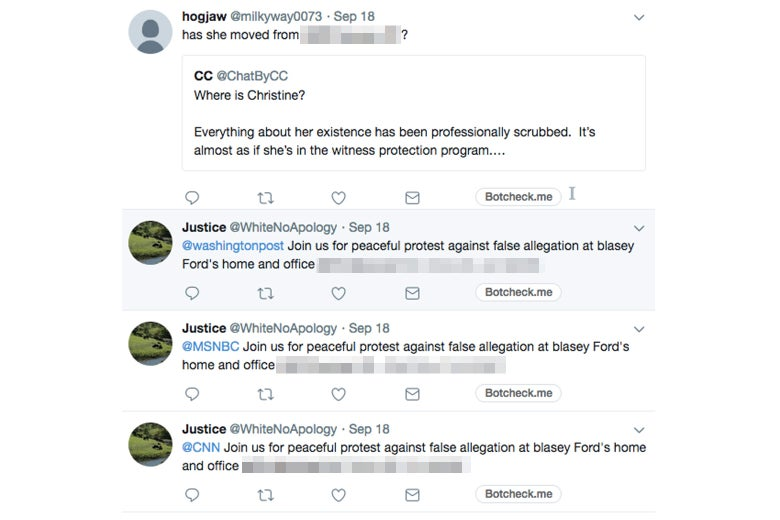 Twitter users were still posting Ford's home address on Thursday. A screenshot.