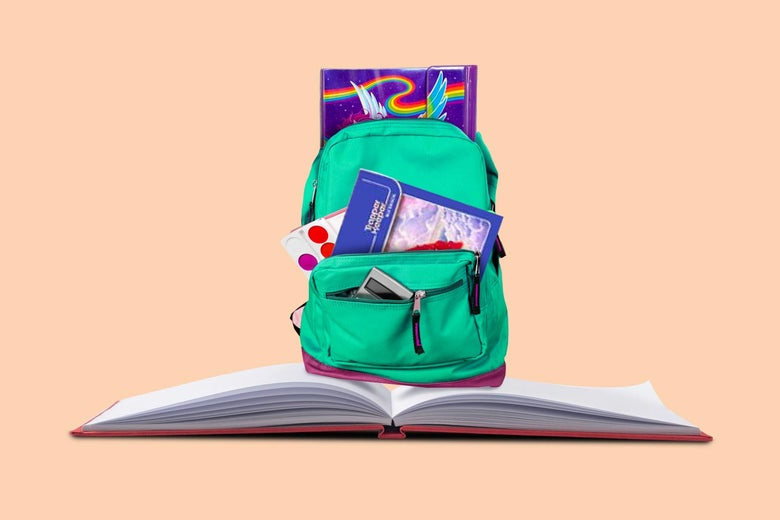 A backpack stuffed with supplies sits on top of an open book.
