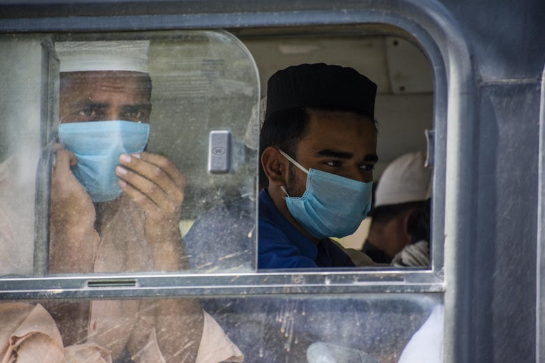 Men wearing surgical masks look out the window of a bus