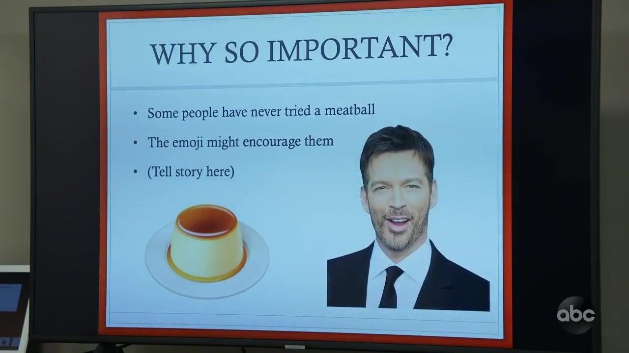 A slide from Jimmy Kimmel's insane pro-meatball emoji PowerPoint presentation.