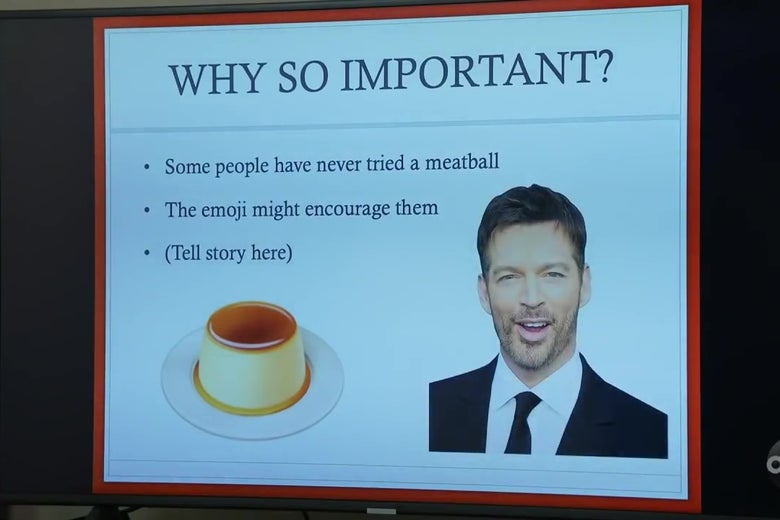 A slide from Jimmy Kimmel's insane pro-meatball emoji PowerPoint presentation.