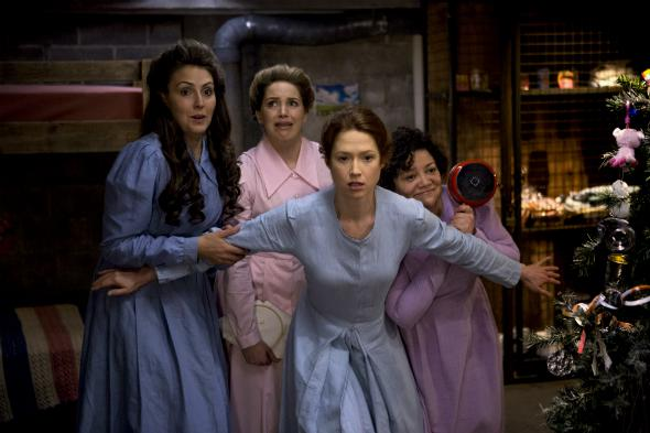 Lauren Adams, Sara Chase, Ellie Kemper, and Sol Miranda in The Unbreakable Kimmy Schmidt.