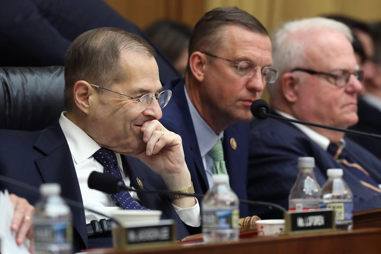 Jerrold Nadler and Doug Collins sit with other Congress members at a dais.