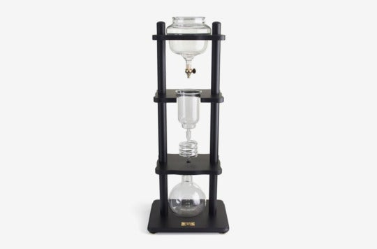 Yama Glass 6-8 Cup Cold Drip Maker Straight Black Wood.