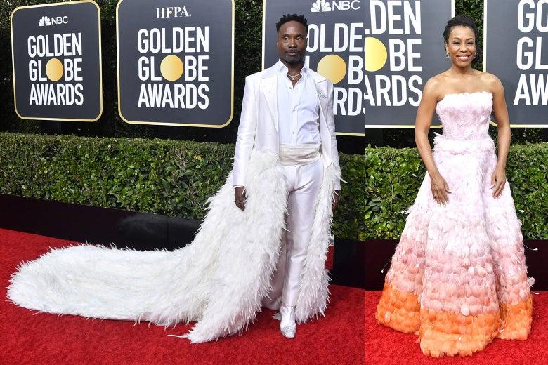 Billy Porter and Karen Pittman pose on the 2020 Golden Globes red carpet.
