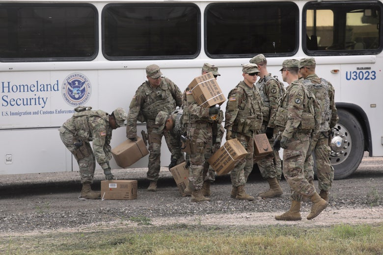 Army soldiers in Texas transporting food.