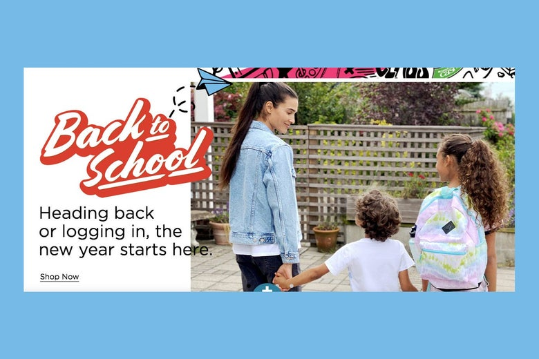 """Kids holding hands next to """"Back to School!"""" text"""