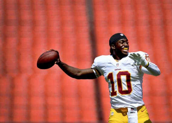 Quarterback Robert Griffin III #10 of the Washington Redskins warms up before playing the Buffalo Bills.