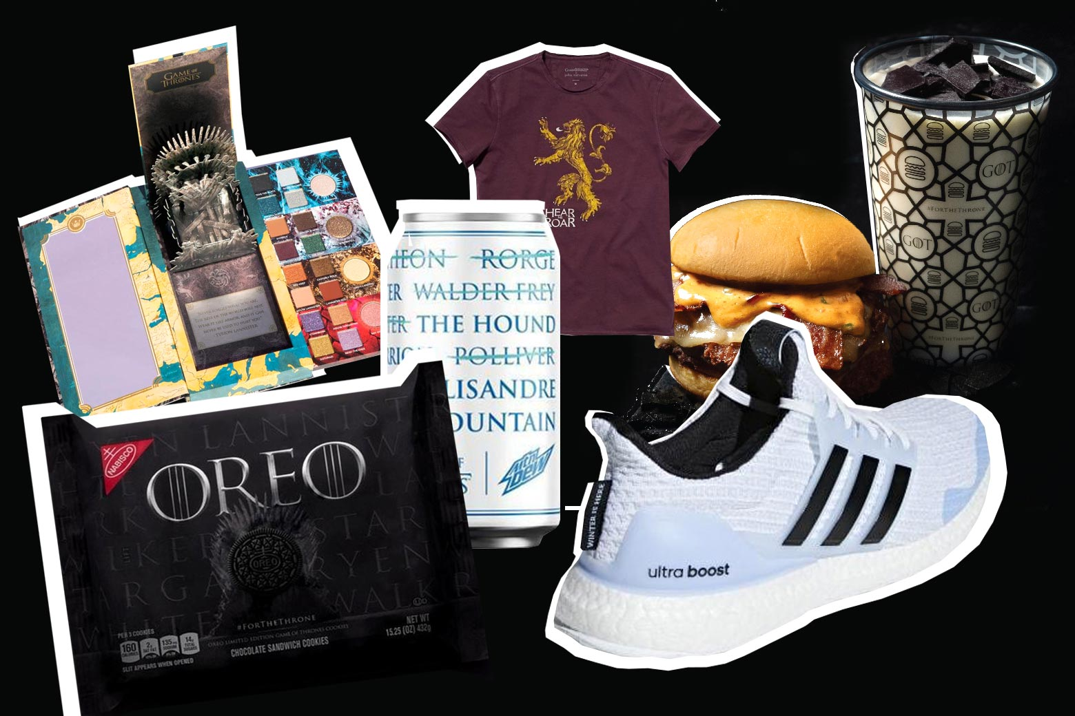Game of Thrones Oreos, Game of Thrones makeup, Game of Thrones sneakers, Game of Thrones Mountain Dew, Game of Thrones burgers, and more.