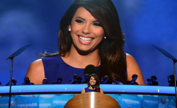 Obama Campaign co-chair Eva Longoria speaks to the audience on the final day of the Democratic National Convention