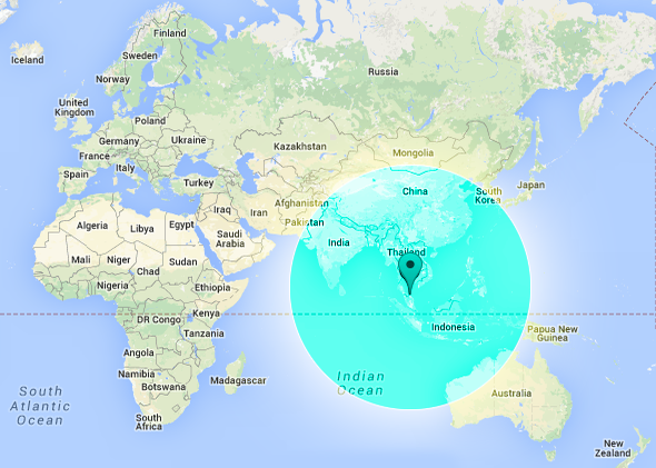 Malaysia Airlines missing plane map: flight radius includes Indian Ocean