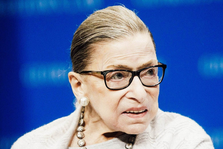 Ruth Bader Ginsburg looks to her side. There is a blue background.