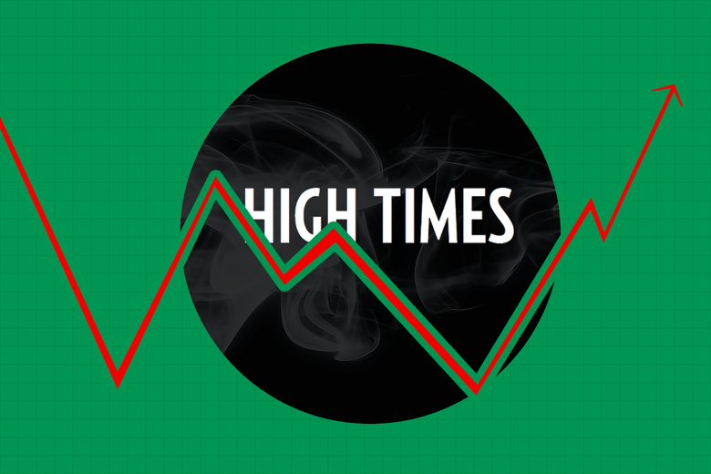 The High Times logo in a wisp of smoke
