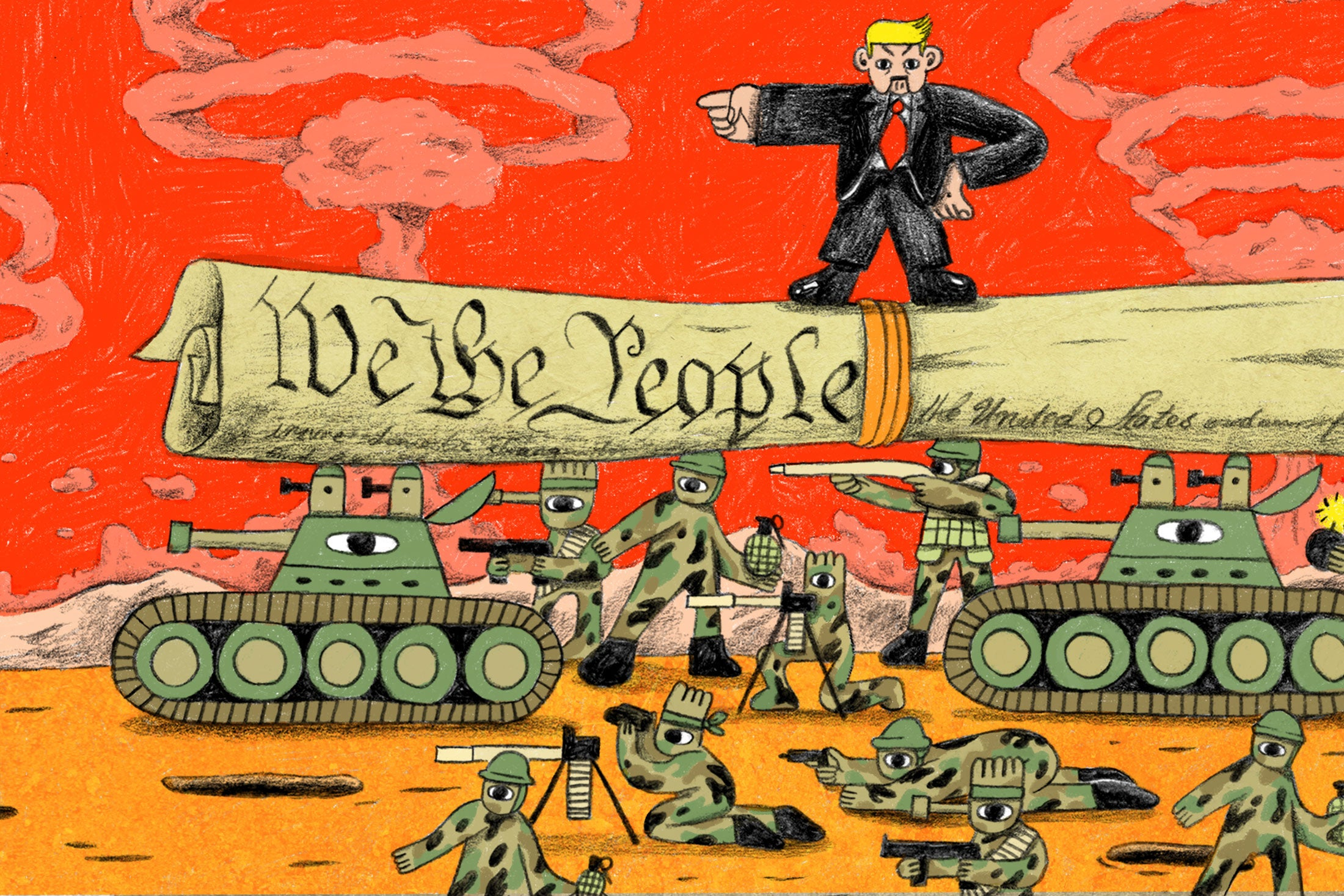 Illustration: A Donald Trump-like figure stands on a large copy of the Constitution laid across two tanks as other soldiers prepare.