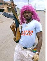 Liberian fighter in wig