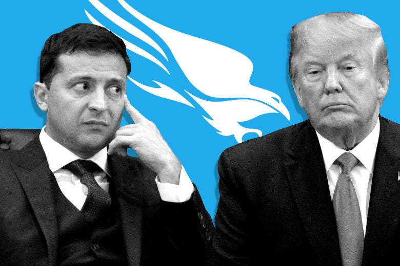 A worried Volodymyr Zelensky, a fatigued Donald Trump and the Crowdstrike logo.