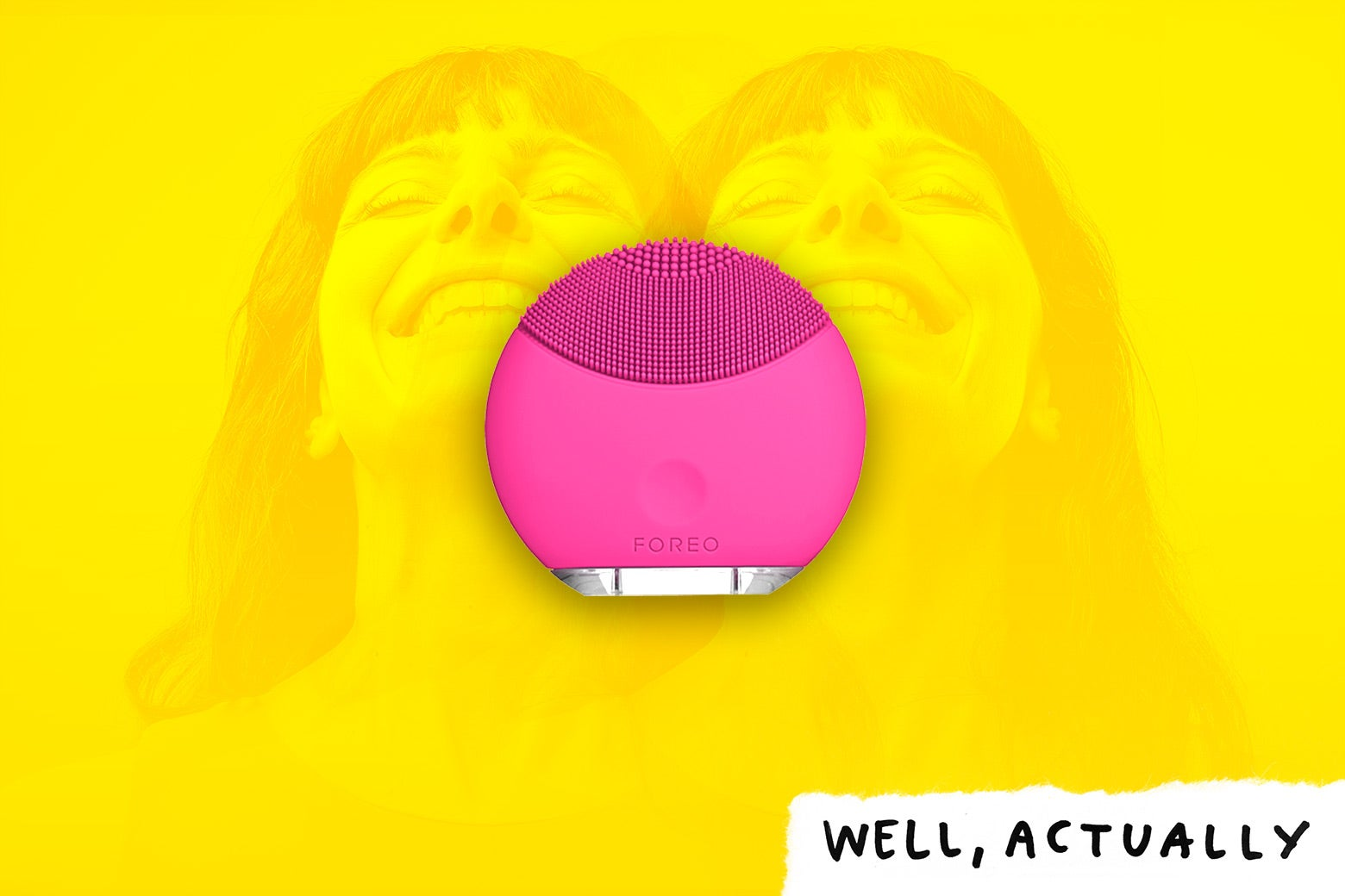 The Foreo Luna Mini sonic brush and a woman in ecstasy.