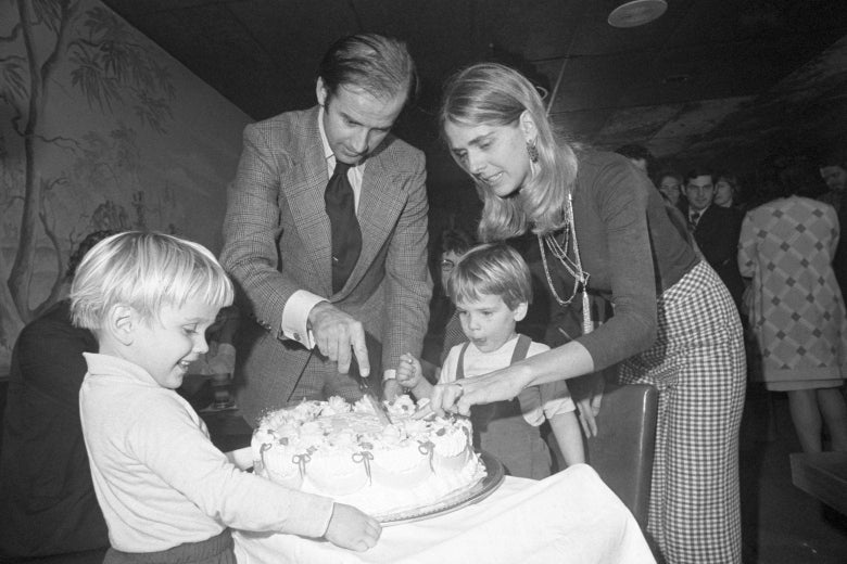 Sen.-elect Joseph Biden and wife Neilia cut his 30th birthday cake at a party in Wilmington, Delaware, on Nov. 20, 1972. His son Hunter waits for the first piece.