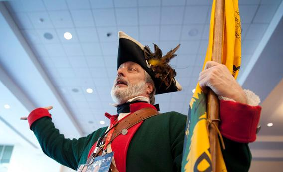 Tea Party member William Temple holds court during the 2013 Conservative Political Action Conference.