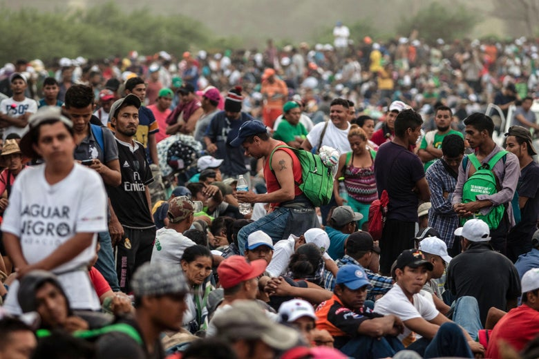 A huge crowd of Honduran migrants in southern Mexico.