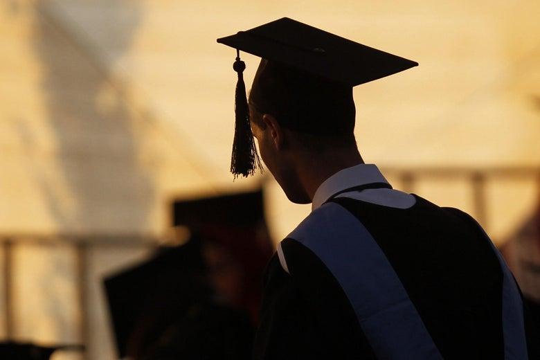 A student at a graduation ceremony.