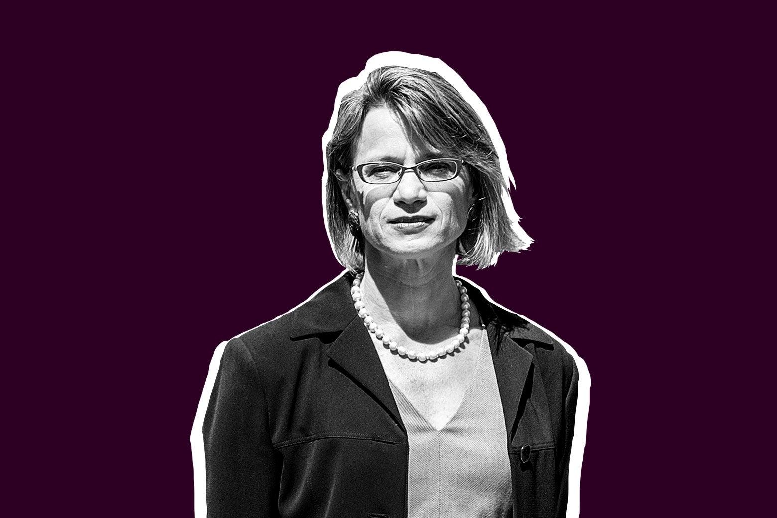 Judge Nina Pillard against a purple background.
