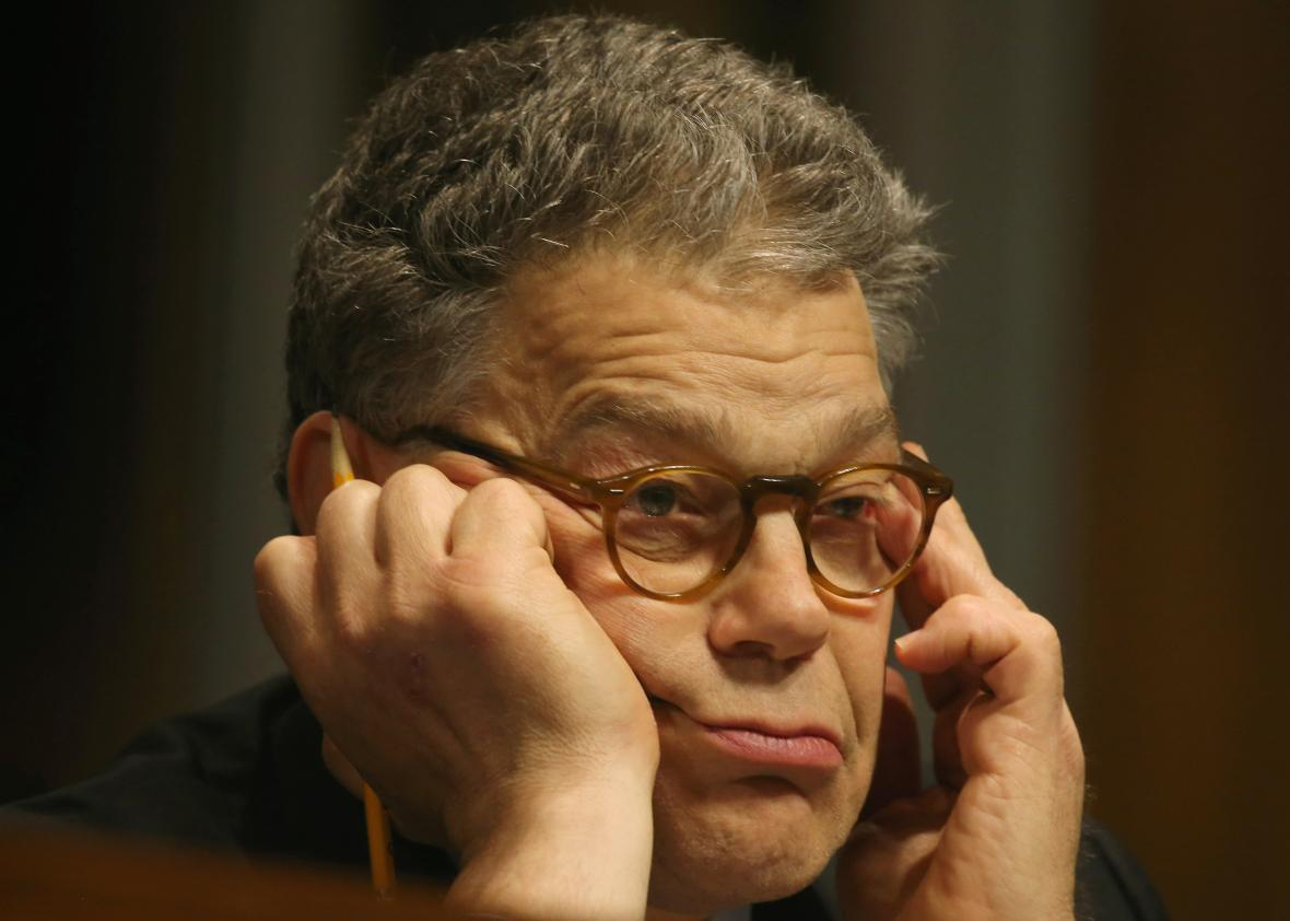 Sen. Al Franken participates in a Senate Judiciary Subcommittee hearing on the use of body cameras by law enforcement May 19, 2015 in Washington, D.C.