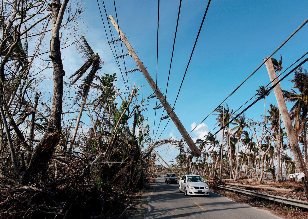 Puerto Rico, collapsed utillity pole