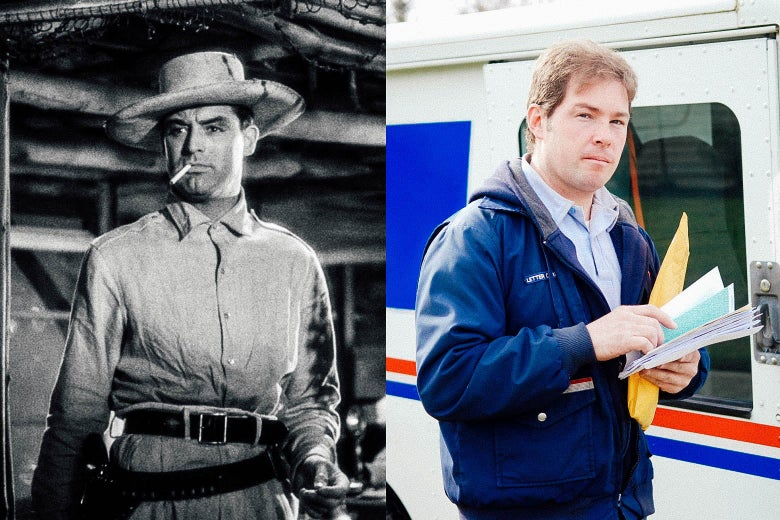 Side-by-side images of Cary Grant as a rakish airmail pilot and a regular guy holding mail and standing outside a USPS vehicle
