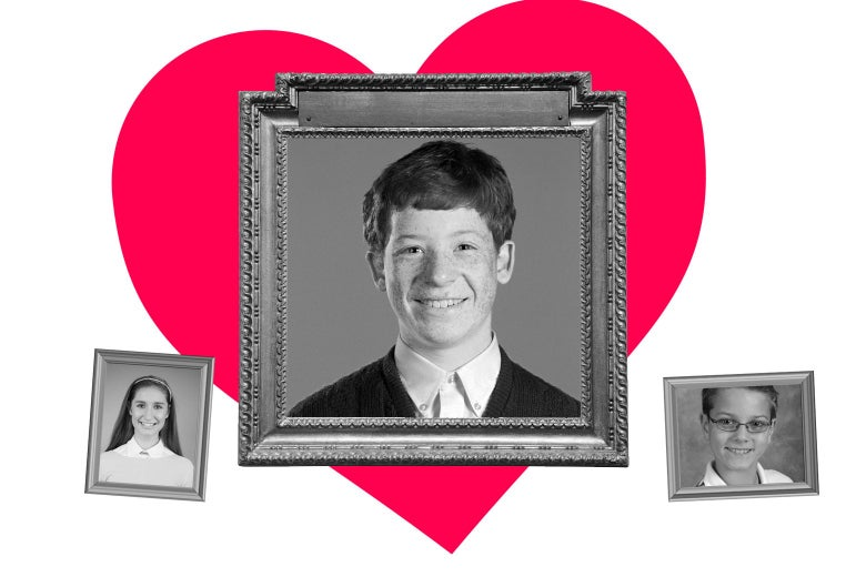 Three photo frames showing school photos; one obviously larger than the others with a heart around it.