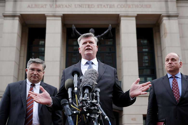 Kevin Downing, a lawyer for Paul Manafort, speaks to reporters outside the courthouse after the jury announced a verdict August 21, 2018 in Alexandria, Virginia.