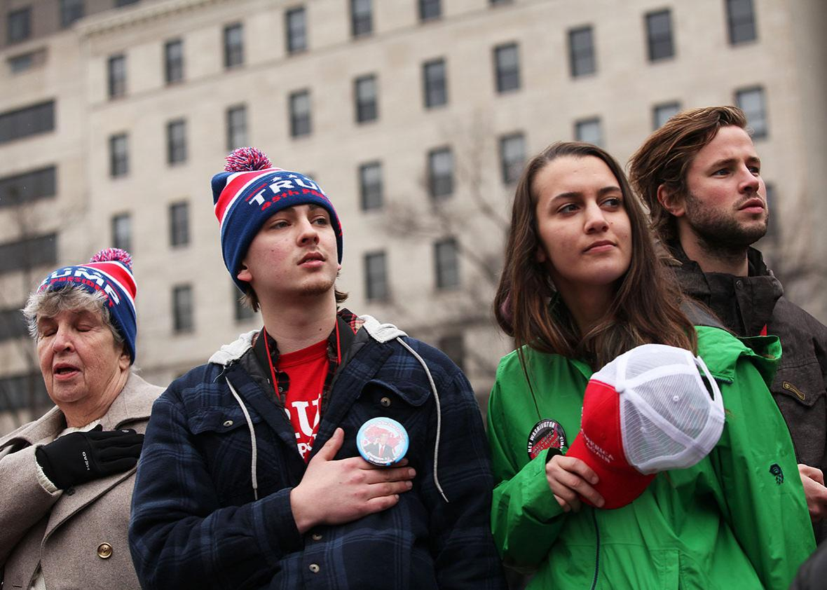 People wait for the Presidential Inauguration Parade on January 20, 2017 in Washington, DC.
