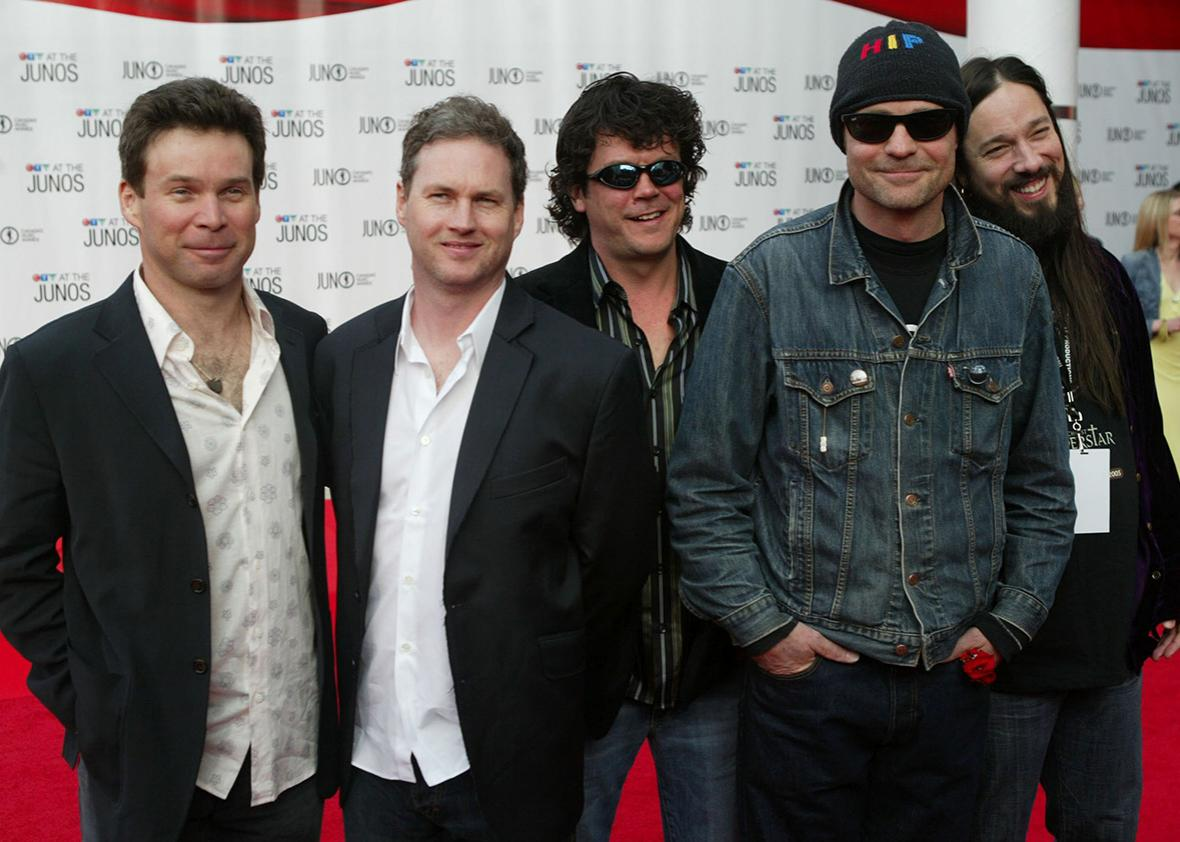 The band Tragically Hip arrives to the 2005 Juno Awards ceremony on April 3, 2005 in Winnipeg, Canada.