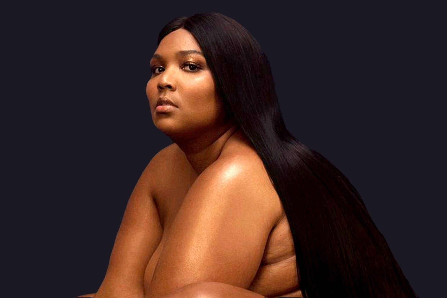 Lizzo, looking glamorous and naked on the album cover.