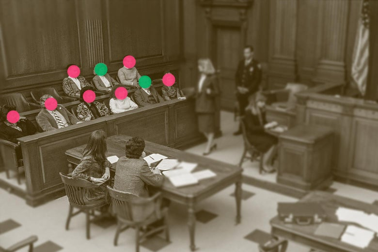 An overhead view of a courtroom in session is seen, with the jury members' faces cut out. Two people sit on a table while a woman talks to the jury. A person stands behind her and near another woman at a desk.