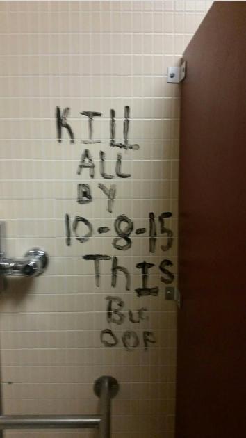 Graffiti written in a bathroom in Eastern Kentucky University'