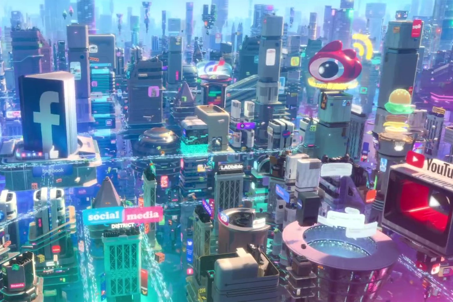 A bewildering stew of corporate logos from Wreck-It Ralph 2.