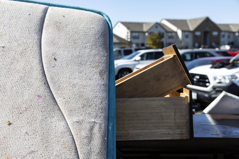 A mattress and drawers outside a residence in the unincorporated community of Galloway on March 3
