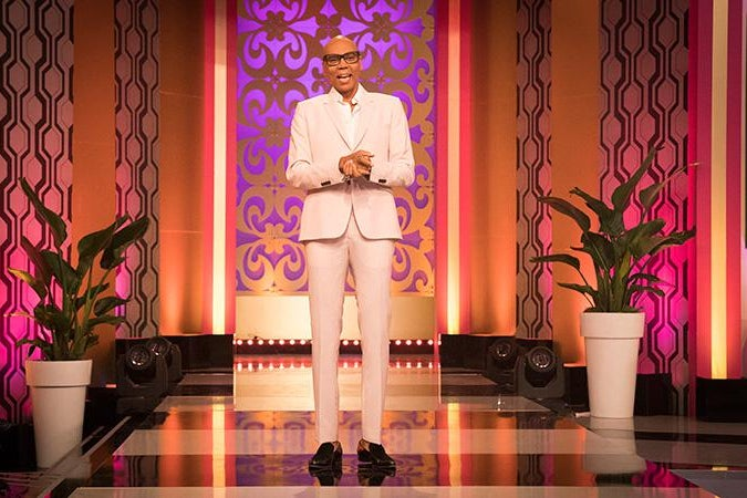RuPaul on the set of his new daytime talk show.