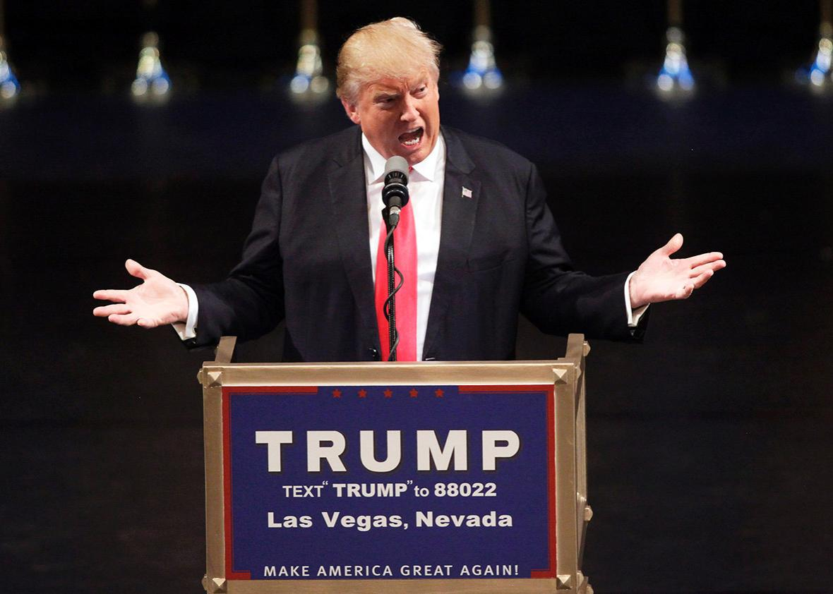 US Republican presidential candidate Donald Trump speaks during a rally at the Treasure Island Hotel in Las Vegas on June, 18, 2016.