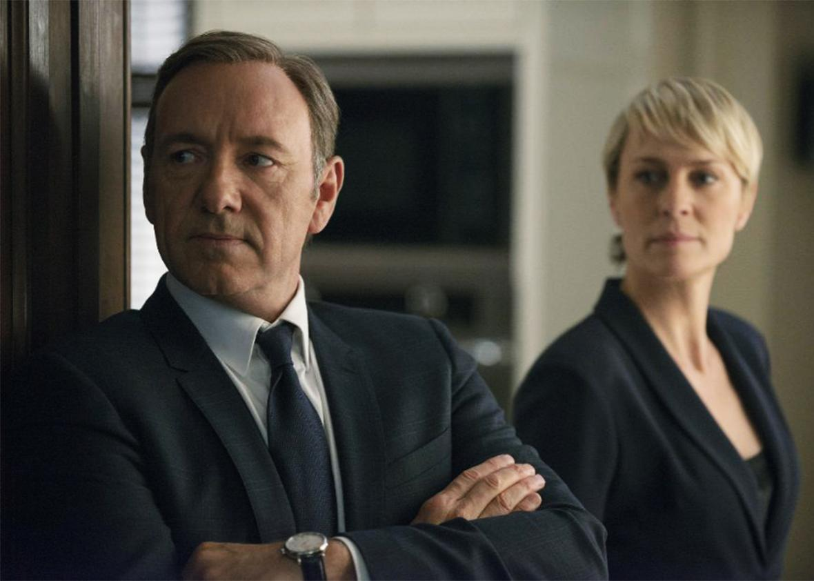 Still of Kevin Spacey and Robin Wright in House of Cards.