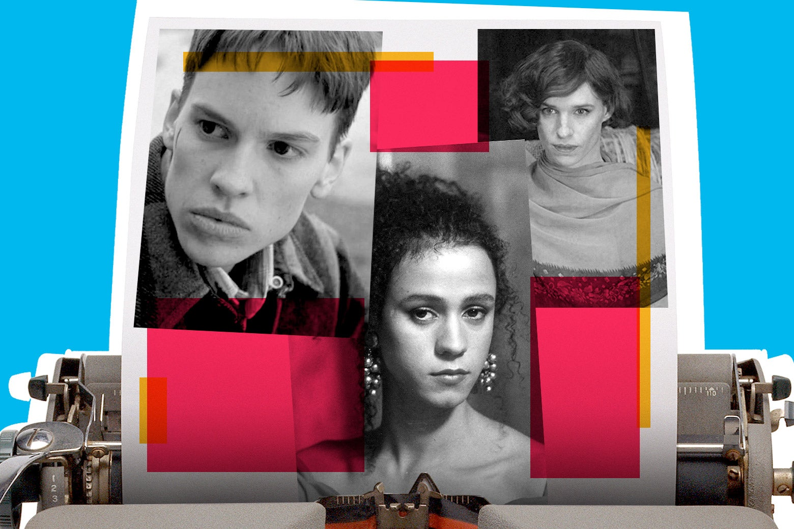 Photo illustration: Hillary Swank in Boys Don't Cry, Jaye Davidson in The Crying Game, and Eddie Redmayne in The Danish Girl