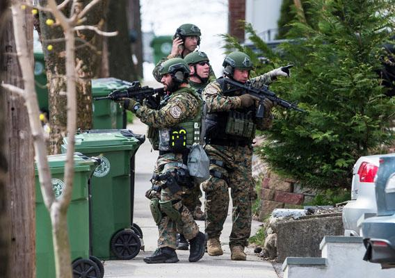 SWAT teams searched homes along Winsor Avenue in Watertown on April 19, 2013 while searching for one of the two suspects in the terrorist bombing of the 117th Boston Marathon earlier this week.